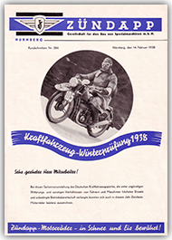 Zündapp Newsletter Nr. 386 14. February 1938