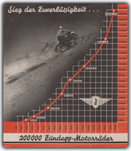 1939 Zündapp 'Victory of Reliability' brochure celebrating the 200000th motorcycle production mark